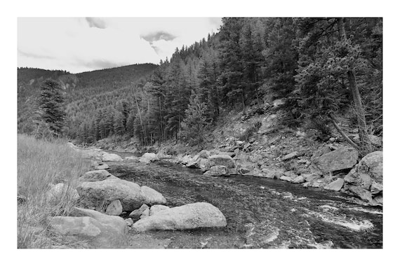 Canyon River,  Black and White Fine Art Photography Print   (Hi-Res Digital Download)