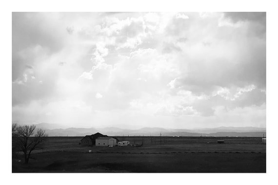 Black and White Farmland Photo Print, Old Farmhouse,    (Hi-Res Digital Download)
