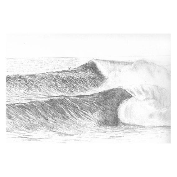 "Waves (Original) 9""x12"" Wilderness Pencil Sketch | Graphite | Art | Custom Pencil Art | Wilderness Art | Decor | Minimalist | Gift"