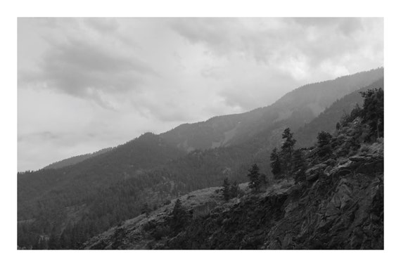 Black and White Mountain Photo Print, Crawling Mountains,     (Hi-Res Digital Download)