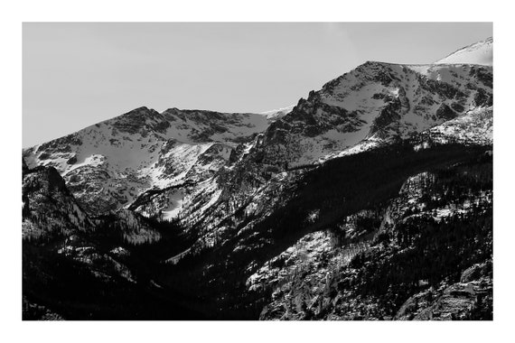 Black and White Mountain Photo Print, Sharp Mountain Peaks,     (Hi-Res Digital Download)