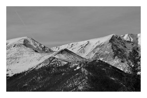 Estes Peaks,  Black and White Fine Art Photography Print   (Hi-Res Digital Download)