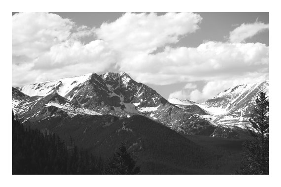 Crisp Mountain Peaks,  Black and White Fine Art Photography Print   (Hi-Res Digital Download)