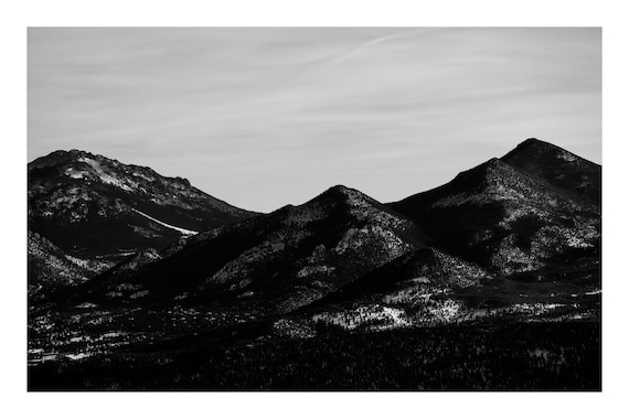 Black and White Mountain Photo Print, Dark Mountain Silhouette,     (Hi-Res Digital Download)