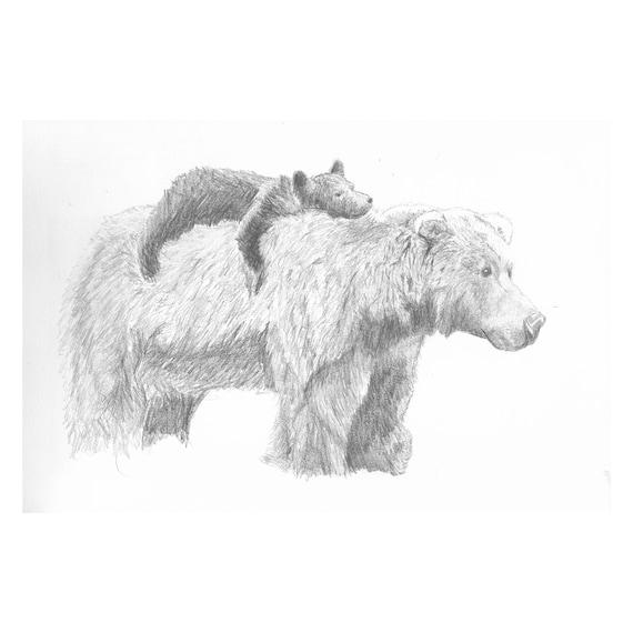 "Mama and Cub (Original) 9""x12"" Wildlife Pencil Sketch | Graphite | Art | Custom Pencil Art | Wilderness Art | Decor | Minimalist | Gift"