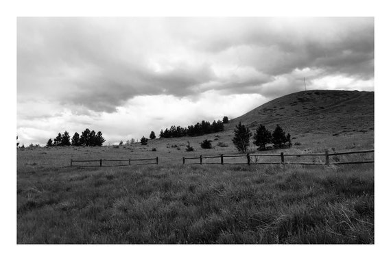 Fence On The Hill,  Black and White Fine Art Photography Print   (Hi-Res Digital Download)