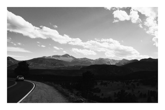 Black and White Mountain Photo Print, Driving Through The Mountains,     (Hi-Res Digital Download)