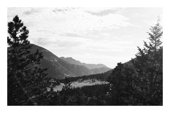 Black and White Mountain Photo Print, Wooded Mountain Overlook,     (Hi-Res Digital Download)