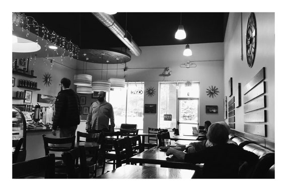 Black and White City Photo Print, Morning In The Coffee Shop,     (Hi-Res Digital Download)