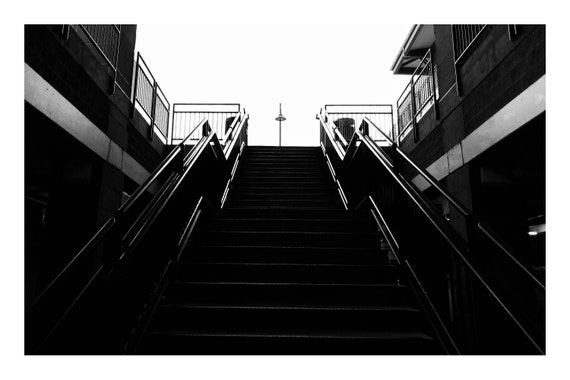 Black and White City Photo Print, The Staircase,     (Hi-Res Digital Download)