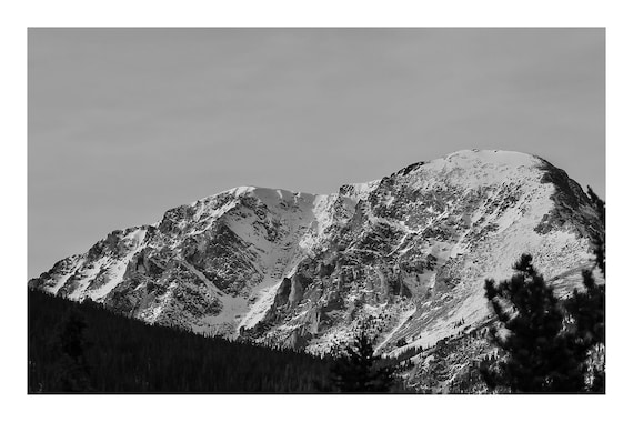 Snowy Mountain Peaks,  Black and White Fine Art Photography Print   (Hi-Res Digital Download)