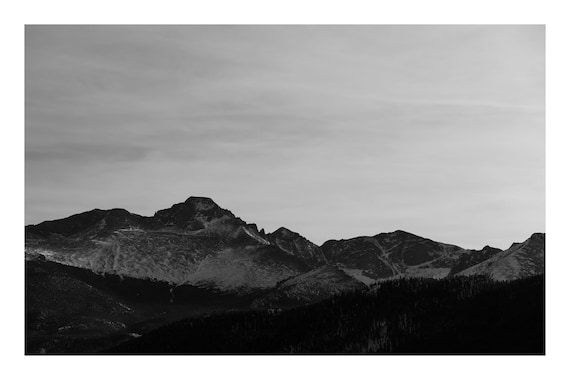Black and White Mountain Photo Print, Mountain Peaks In The Distance,     (Hi-Res Digital Download)