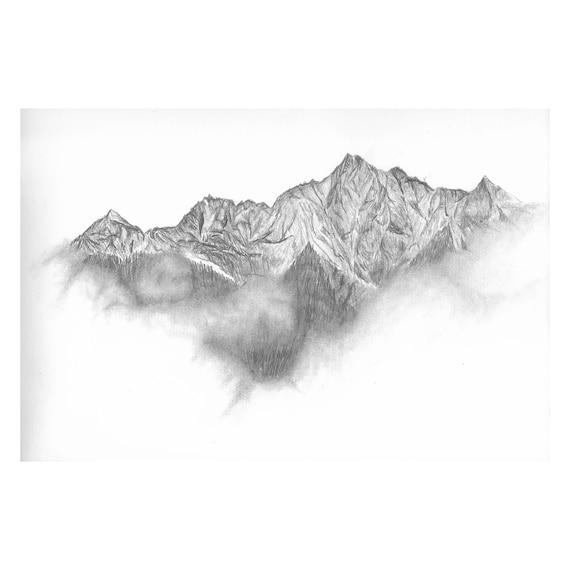 "Mountains in the Fog (Original) 9""x12"" Pencil Sketch | Graphite | Art | Custom Pencil Art | Wilderness Art | Decor | Minimalist | Gift"