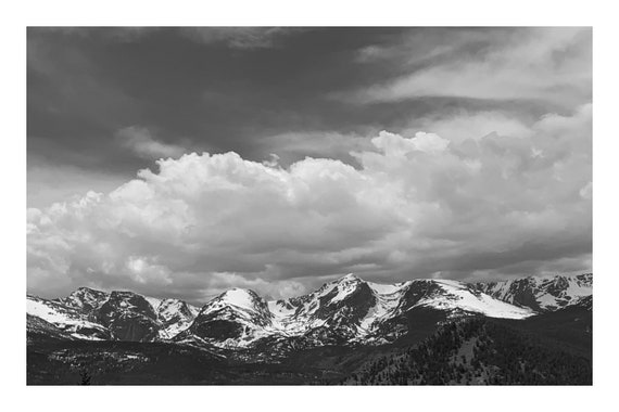 Black and White Mountain Photo Print, Stunning Lookout,     (Hi-Res Digital Download)