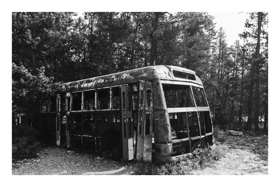 Black and White Forest Photo Print, The Bus,     (Hi-Res Digital Download)