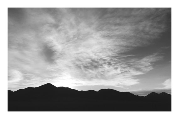 Mountain Silhouette,  Black and White Fine Art Photography Print   (Hi-Res Digital Download)