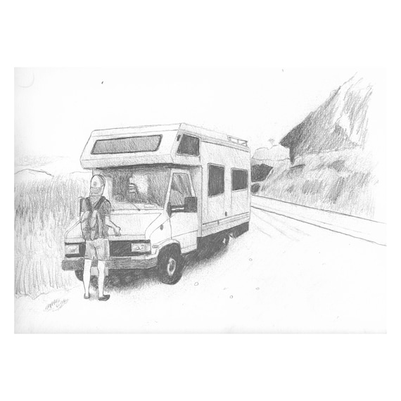 "The RV (Original) 9""x12"" Pencil Sketch 
