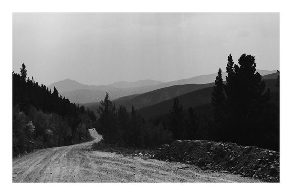 Hazy Mountain Road,  Black and White Fine Art Photography Print   (Hi-Res Digital Download)