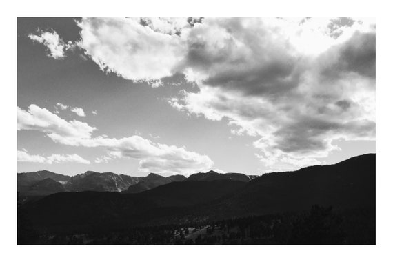 Black and White Mountain Photo Print, Mountainous Silhouette,     (Hi-Res Digital Download)