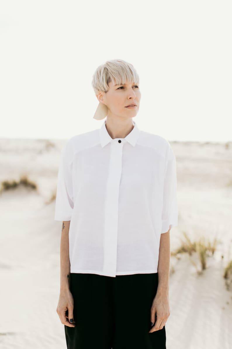GOYA white crop shirt