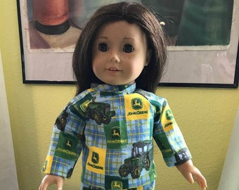 "18"" Doll Pajamas.  John Deer print Long sleeve top and pants Will fit American Girl dolls"