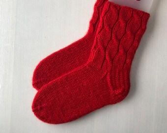 40/41 size Wool winter red slipper socks