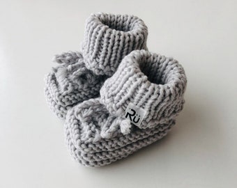 Grey Newborn booties Baby boy boots Grandparents to be gift Pregnancy reveal Baby booties in a box Newborn photo props Baby Christmas gift