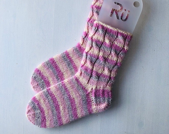 36/37  izmērs - Rü superzeķes - Gaiši rozā / baltas / gaiši pelēkas svītras - Gatavas sūtīšanai
