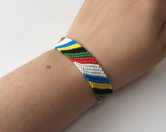 Olympic colours Handmade Stackable Friendship Bracelet Braided friendship band Best friend bracelet Best friend gift Woven bracelet
