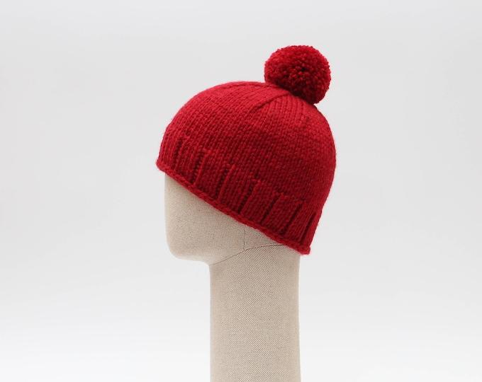 Dark Red Winter hat merino wool lining inside, unisex handmade pom pom hat Mens hat Mens beanie hat Warm pom pm hat Mens knitted winter hat