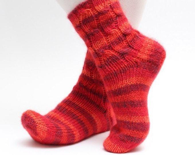 36/37 size Woollen Red socks Warm winter slipper socks