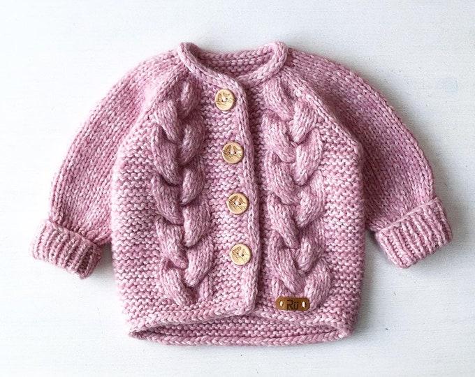 62/68 cm (3-6 mēneši) Maiga un mīksta rozā mazuļu jaciņa - Gatava sūtīšana