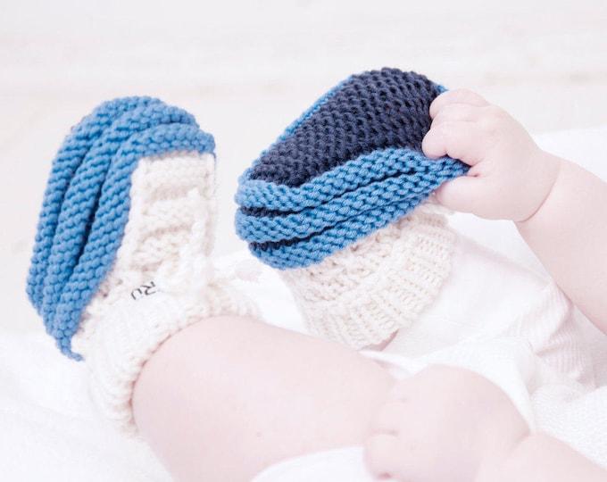 6-12 mēneši - Strīpaini merīnvilnas zābaciņi mazulim - Gatavi sūtīšanai