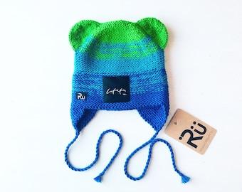 1-2 gadi (48-50cm) - zili zaļa cepure ar sasienamām austiņām - Gatava sūtīšanai