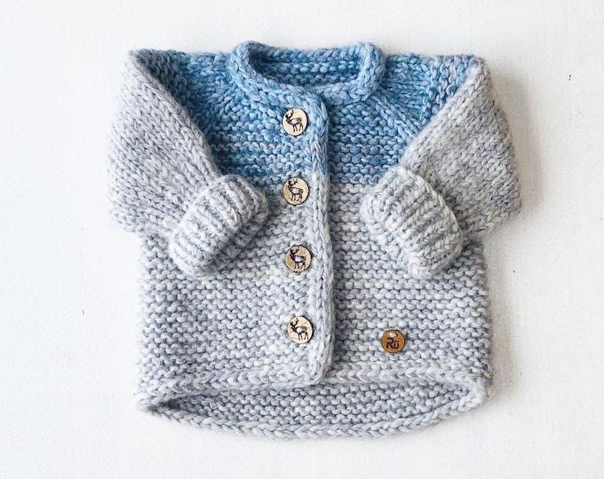 50/56cm (0-3 mēneši) - Mīksta gaiši zila/pelēka jaciņa mazulim - Gatava sūtīšanai