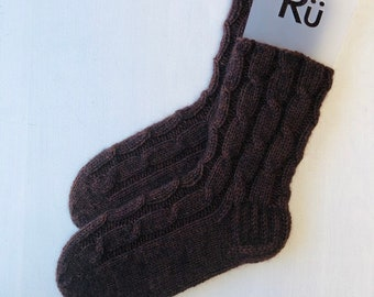 Knitted dark brown hand knit socks Warm soft socks Knitted winter socks Wool slipper socks Hand knitted wool socks Boot socks Super socks