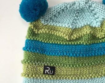 1-2 gadi (48-50cm) - Mint krāsas ziemas cepure ar atstarojošo joslu - Gatava sūtīšanai