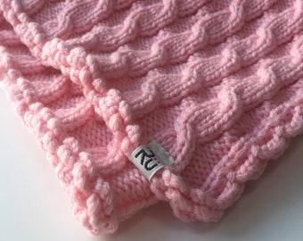 Hand Knitted baby blanket Merino wool newborn blanket Warm blanket for baby Hand knit Pink baby blanket Babyshower gift cable knit blanket
