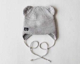 6-12 mēneši - Lāčuka cepure maigi pelēkā krāsā - Gatava sūtīšanai
