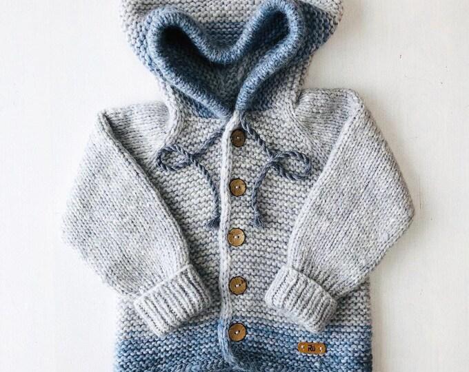 Featured listing image: 98/104 (2-4 gadi) - Pelēka/zila jaciņa ar kapuci - gatava sūtīšanai