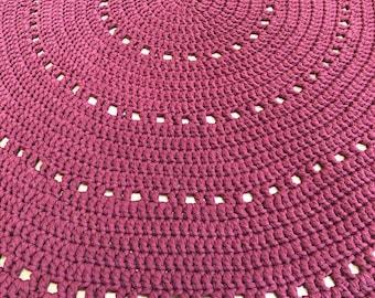 Dark red hand crochet round rug for living room nursery bedroom