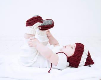 0-6 mēneši - Tumši sarkani / pelēki / balti  merīnvilnas zābaciņi mazulim - Gatavi sūtīšanai