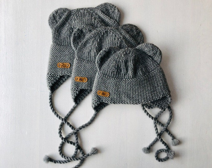 6-12 mēneši, 1-2 gadi - Pelēka lāčuka merīnvilnas cepure - Gatava sūtīšanai
