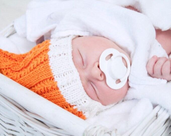 0-6 / 6-12 mēneši - Koši oranžs merīnvilnas komplekts mazulītim - Gatavs sūtīšanai