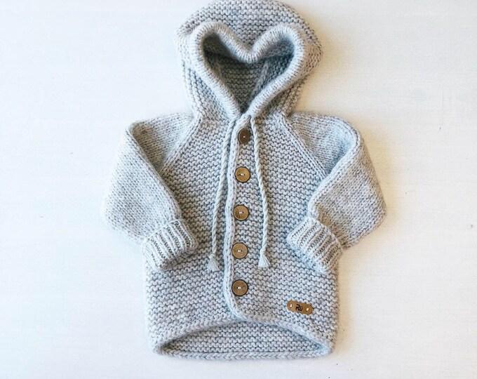 86/92 (1-2 gadi) - Pelēka jaka ar kapuci  - gatava sūtīšanai