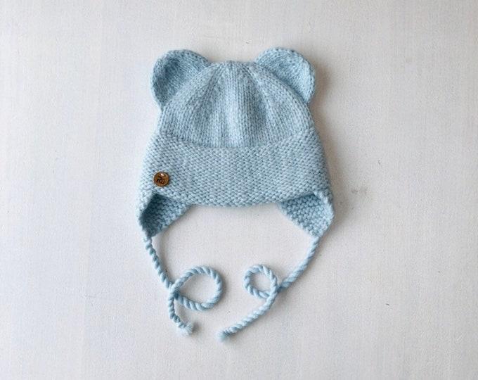 6-12 mēneši (44-48cm) - Lāčuka cepure mintīgi zilā krāsā - Gatava sūtīšanai