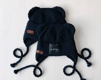 0-3 mēneši (40-42cm) - Tumši zila merīnvilnas lāčuka cepure - Gatava sūtīšanai