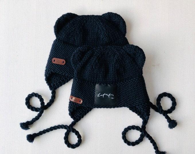 0-6 un 6-12 mēneši - Tumši zila merīnvilnas lāčuka cepure - Gatava sūtīšanai