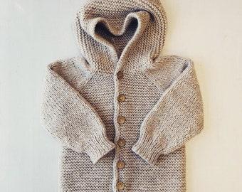 110/116 (4-6 gadi) - Bēša jaka ar kapuci  - gatava sūtīšanai