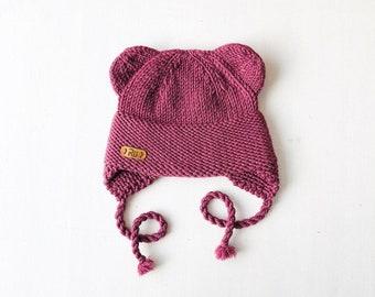 6-12 mēneši (44-48cm) - Upeņu uzpūteņa krāsas lāčuka cepure, merīnvilna - Gatava sūtīšanai